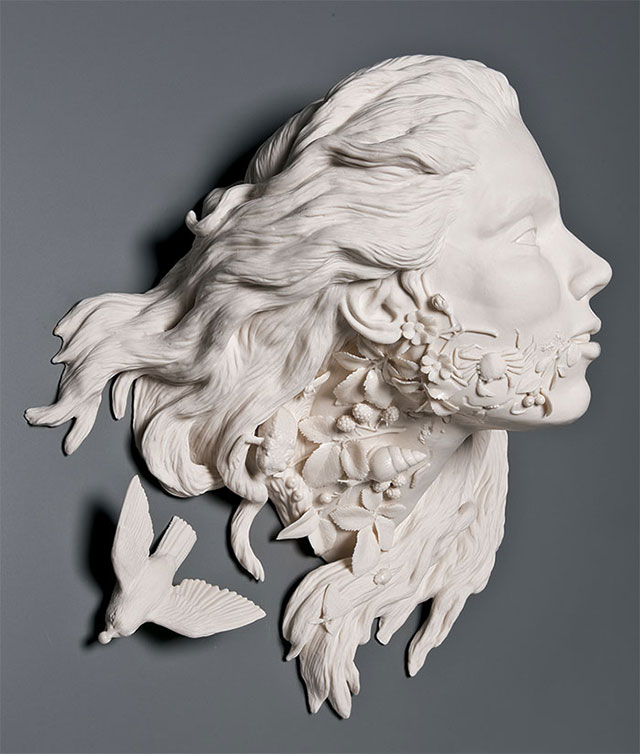 Invasive flora porcelain sculpture by Kate MacDowell