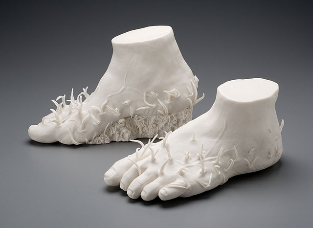 Uprooted porcelain sculpture by Kate MacDowell
