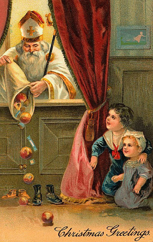St. Nicholas brings gifts to children on Christmas