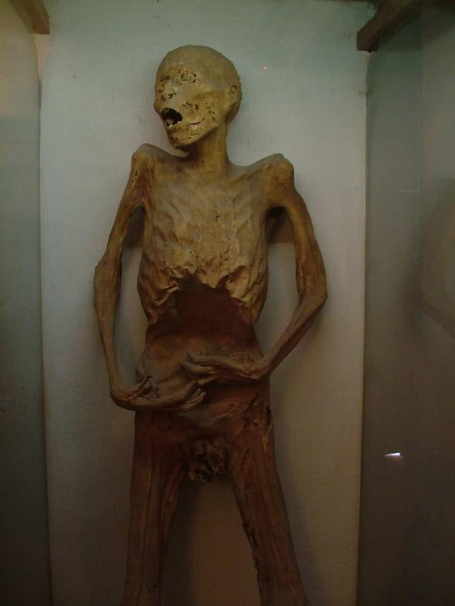 A cholera mummy at the El Museo De Las Momias in Guanajuato, Mexico