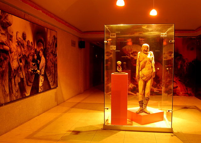 A mummified woman and fetus at the El Museo De Las Momias in Guanajuato, Mexico