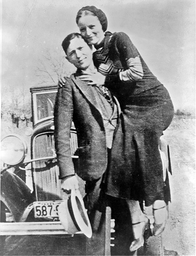 A photo of Bonnie and Clyde from March 1933 found by police at their hideout
