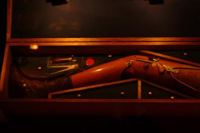 Gun hidden inside an antique prosthetic leg