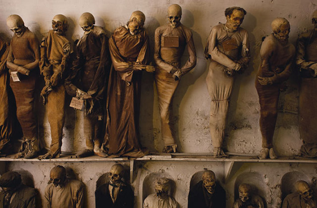 Mummies of the Capuchin catacombs in Palermo, Italy
