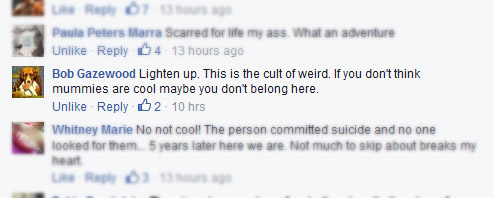 Facebook comments on the mummified body found in abandoned Dayton home
