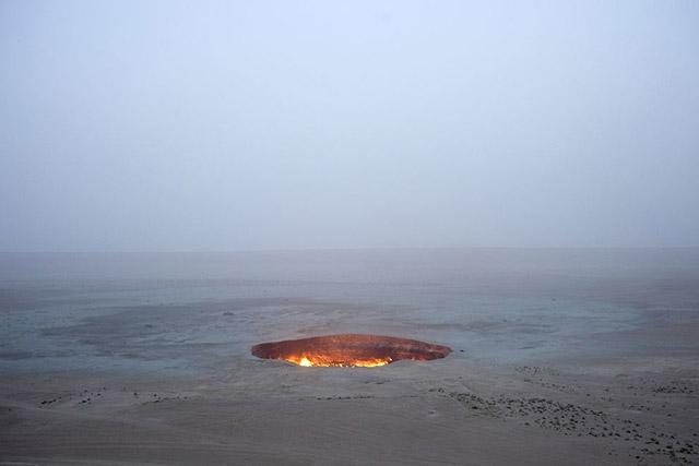 The Darvaza Crater, a fiery pit in Turkmenistan known as the Door to Hell