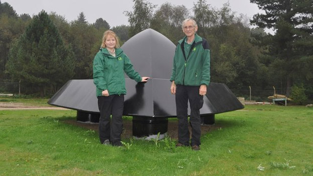 Sculpture being installed at the site of the Rendlesham Forest UFO incident
