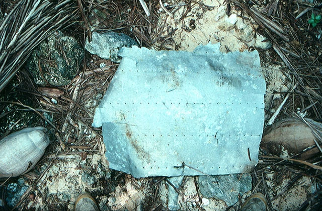 A piece of aluminum debris that most likely belongs to Amelia Earhart's plane