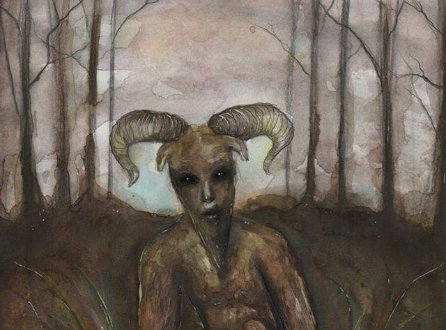 Goatman book cover art by Wisconsin artist Amber Michelle Russell
