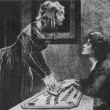 Pearl Curran communicates with Patience Worth through a ouija board