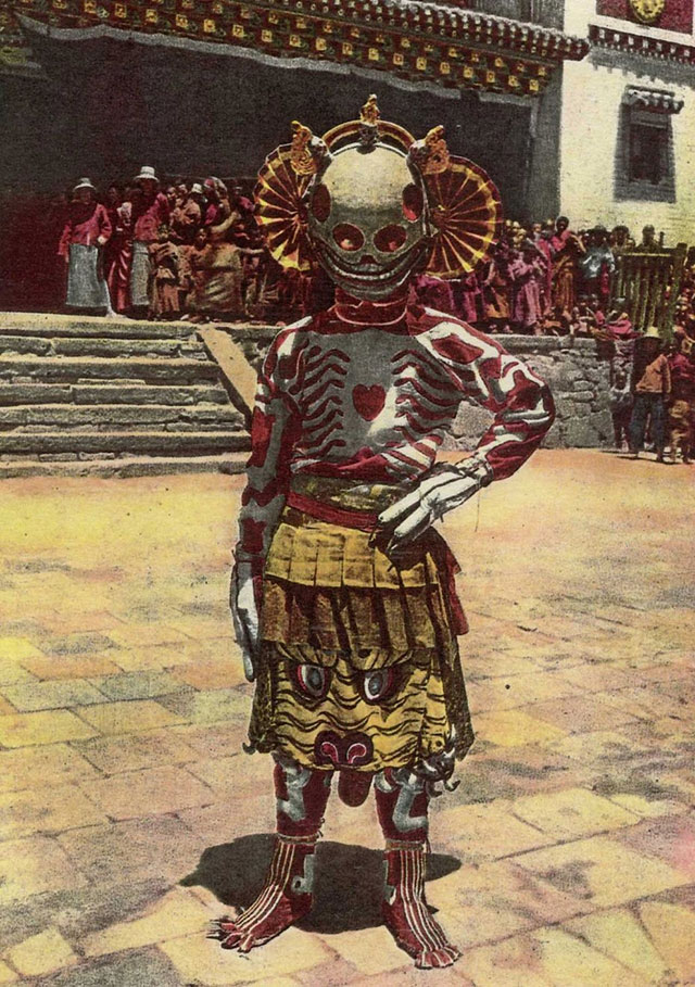1925 photo of a Tibetan skeleton dancer