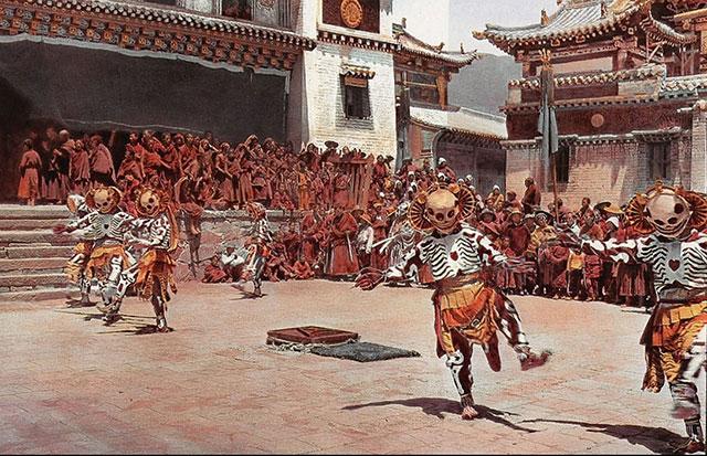 Tibetan skeleton dancers performing in 1925