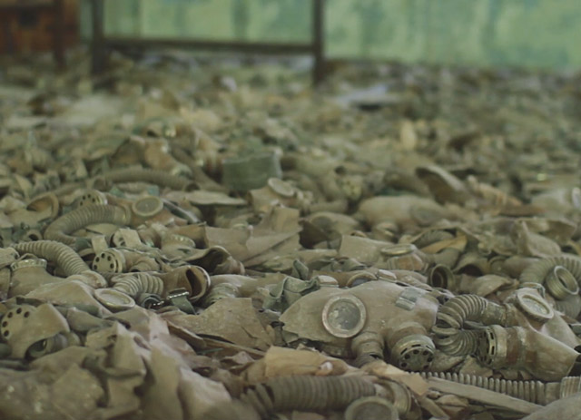 Gasmasks laying on the floor in Chernobyl's abandoned city of Pripyat
