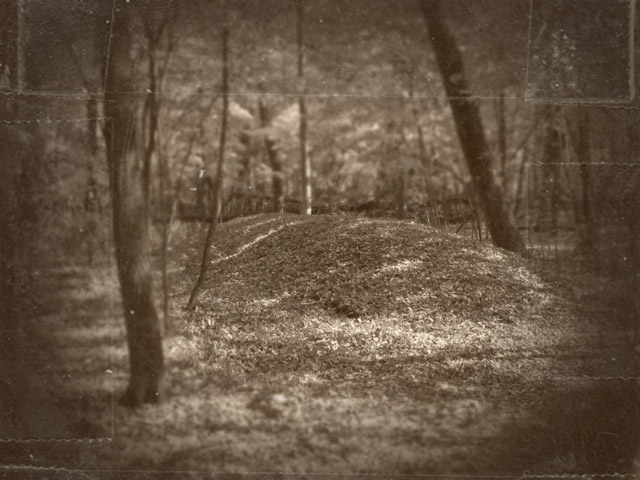 A burial mound at Wisconsin's Lizard Mound park, where a giant skeleton was reportedly found.