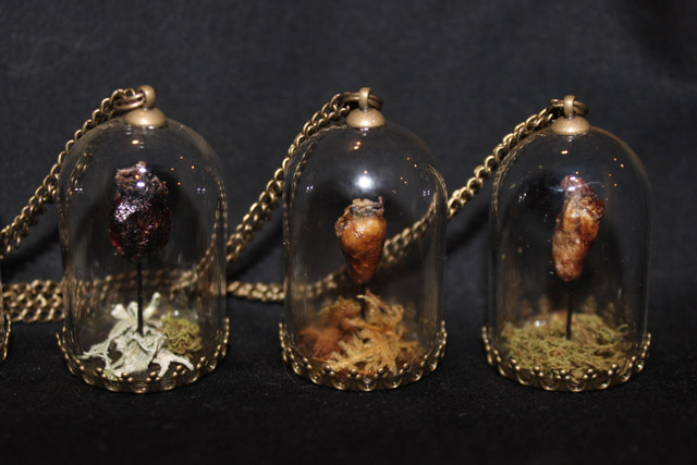 Mummified heart pendants by Afterlife Anatomy