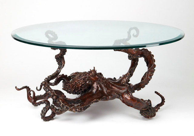 Bronze octopus octopus coffee table by sculptor Kirk McGuire