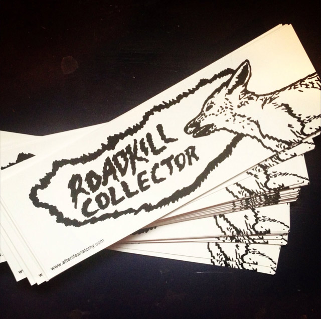 Roadkill collector bumper stickers from Afterlife Anatomy