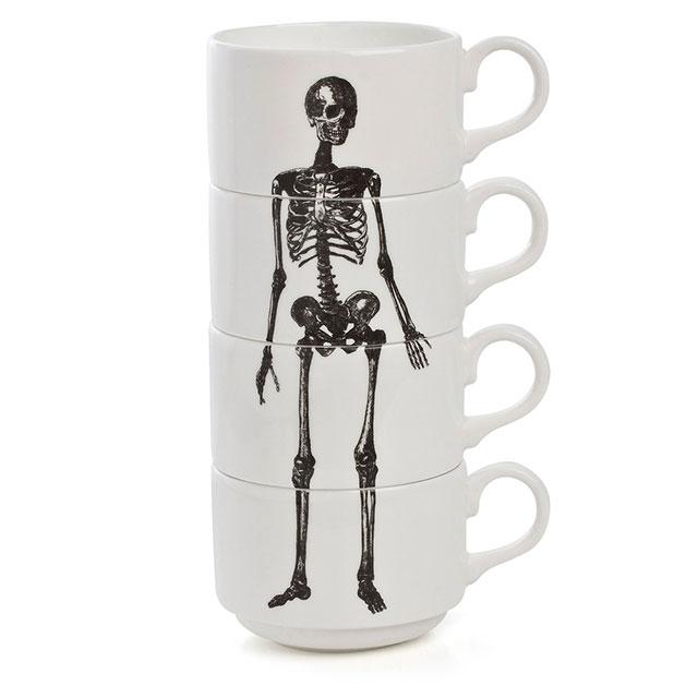 Stacking skeleton coffee mugs