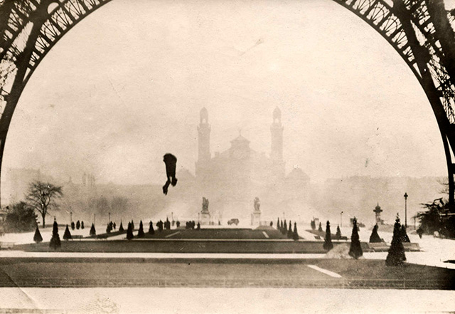 Inventor Franz Reichelt the moment before his death after jumping from the Eiffel Tower
