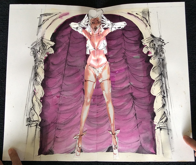 Production designer Peter Larkin created a burlesque pop-up book that will never be published.