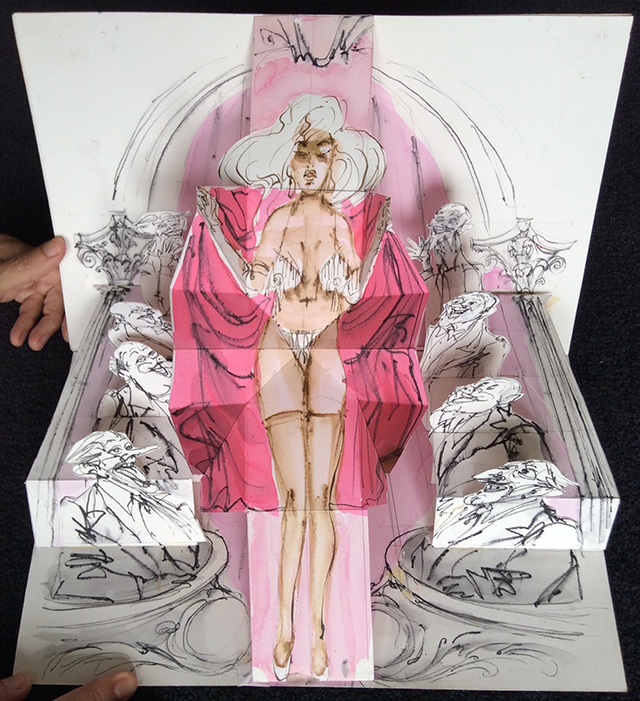 Page from the burlesque pop-up book by Peter Larkin