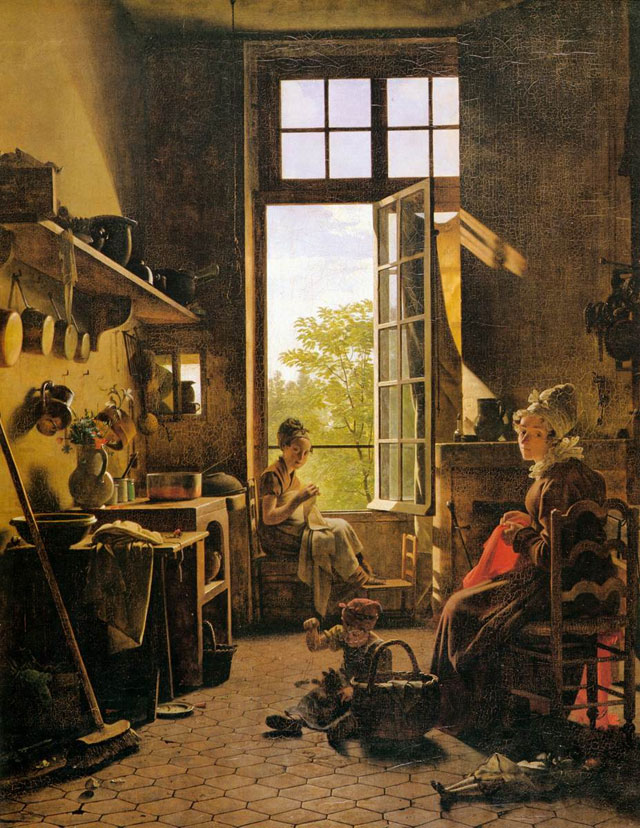 Interior of the Kitchen was painted using mummy brown by Martin Drolling in 1815