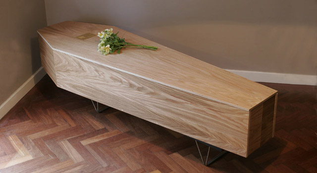 DIY wood shelf converts into a coffin