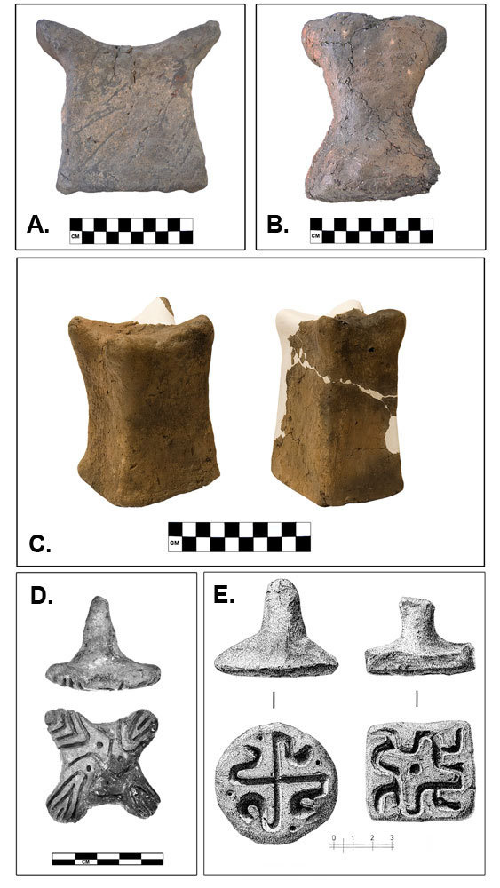 Horned clay idols and other artifacts found at the Armenia divination fortress