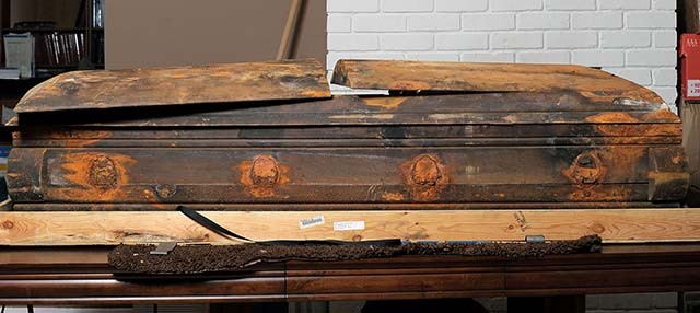 Side view of Lee Harvey Oswald's coffin