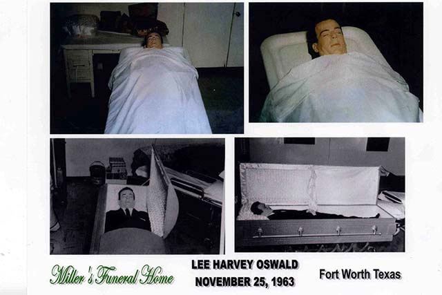 The body of Lee Harvey Oswald in the original pine coffin