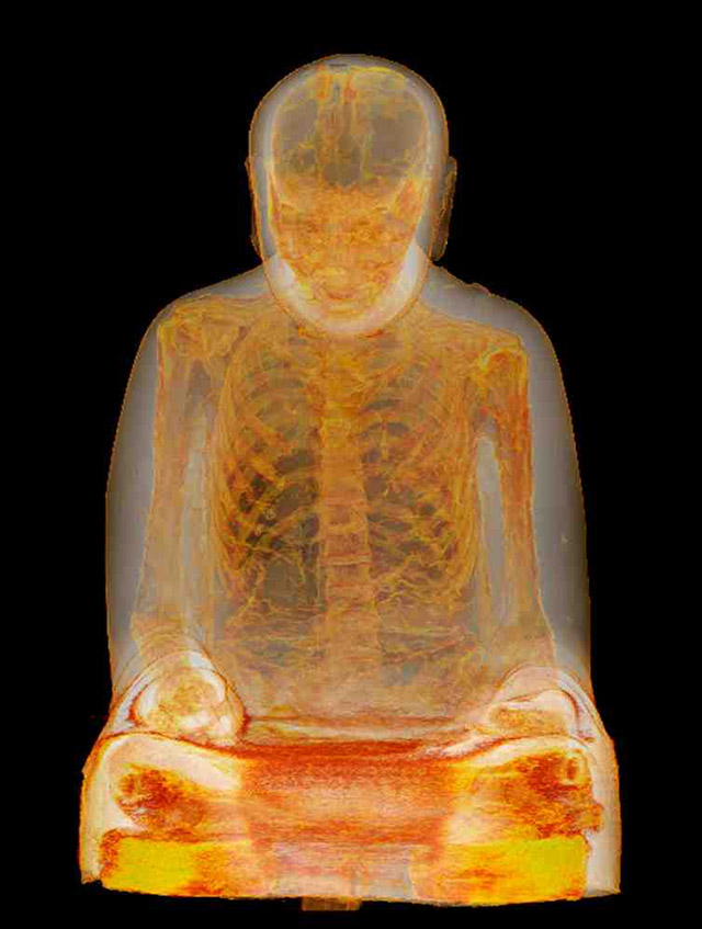 CT scan shows the mummified remains of a monk preserved inside an ancient statue of Buddha