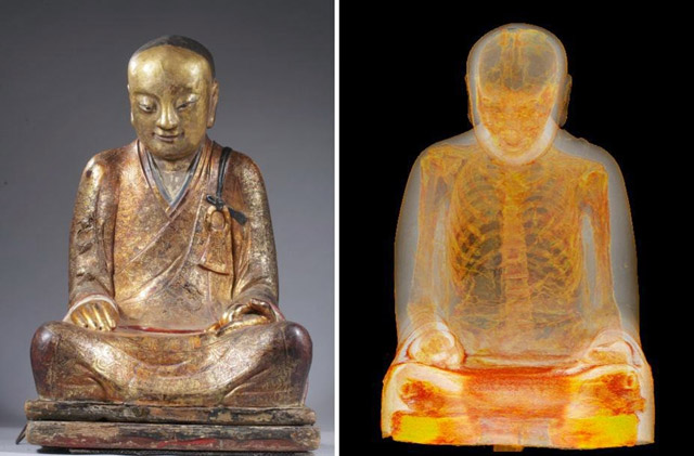 Mummified monk found inside a Buddha statue