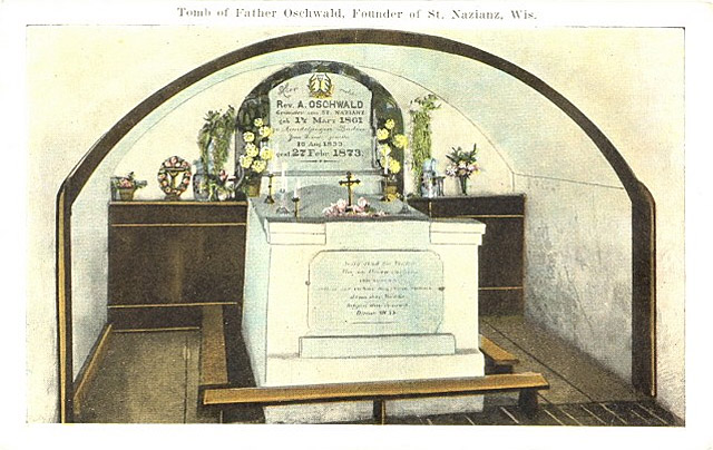 Postcard from St. Nazianz showing the tomb of Father Oschwald