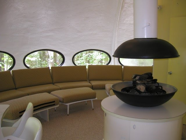 The living room of the Futuro UFO house in Northern Wisconsin