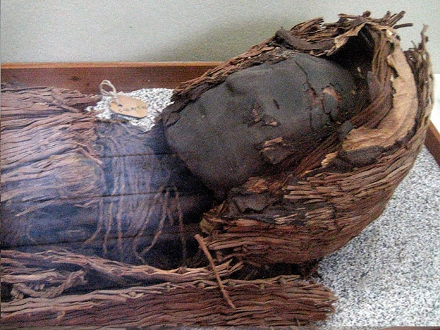 A Chinchorro mummy with a clay mask