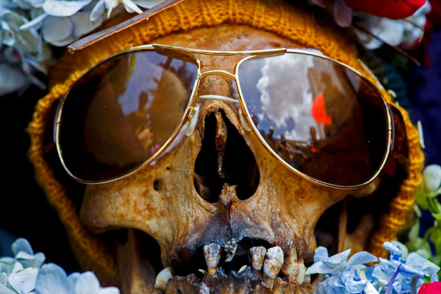 A skull wearing sunglasses from Memento Mori by Paul Koudounaris