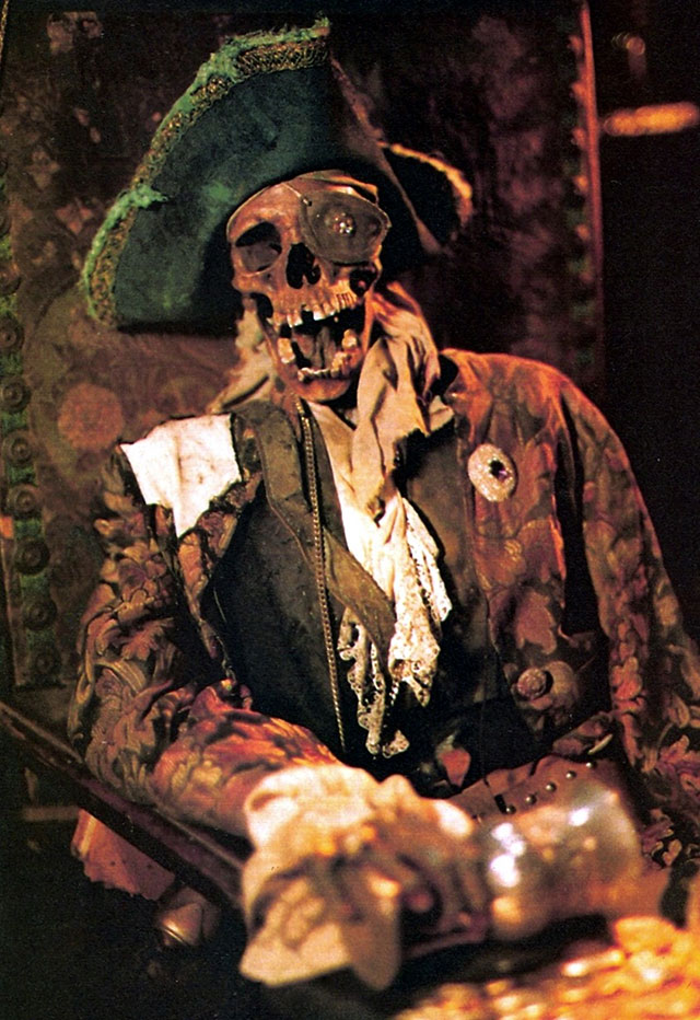 The remains of pirate One-Eyed Willie from The Goonies