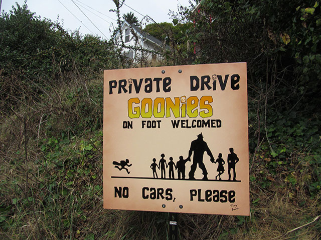 Goonies sign in Astoria, Oregon