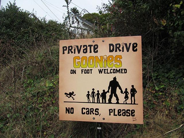Goonies sign in Astoria, Oregon