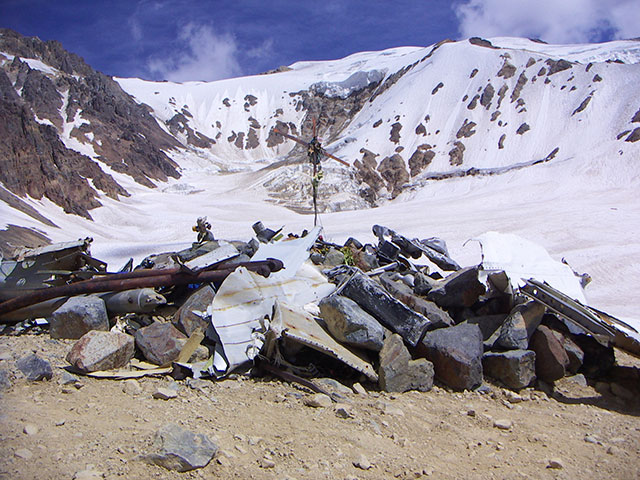 Flight 571 crash site in the Andes