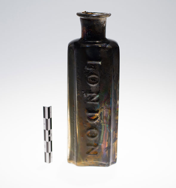A patent medicine bottle found in the wreck of the Erebus