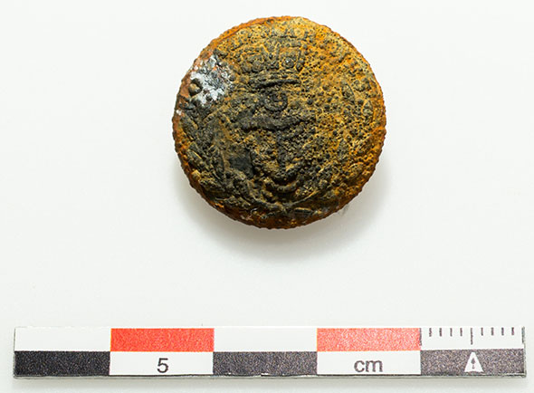 A tunic button that belonged to a member of the Erebus crew