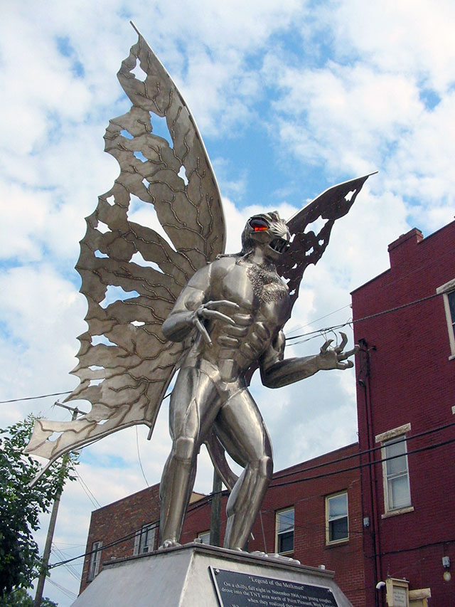 Mothman statue in downtown Point Pleasant, WV