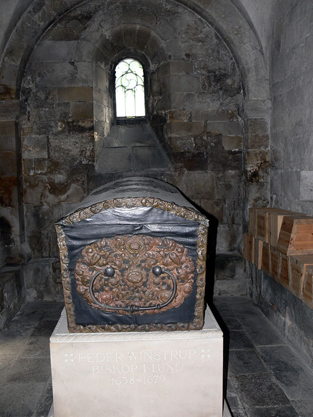 The coffin of Peder Winstrup in the crypt of Lund Cathedral