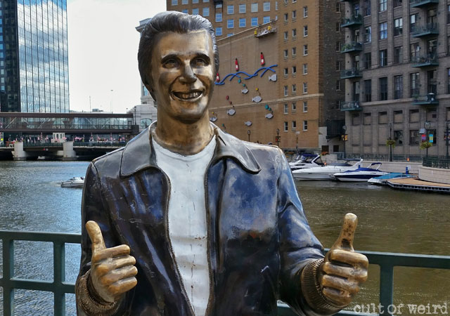 The Bronze Fonz on the riverfront in Milwaukee