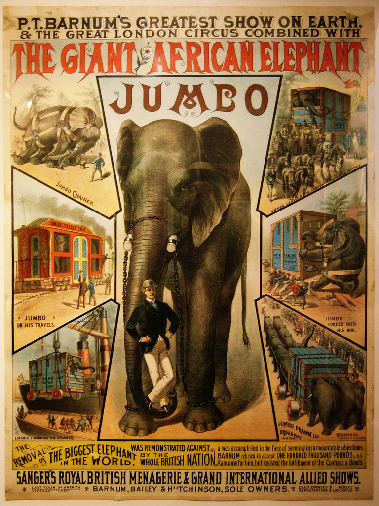 Vintage circus poster shows Jumbo with his keeper Matthew Scott, 1882