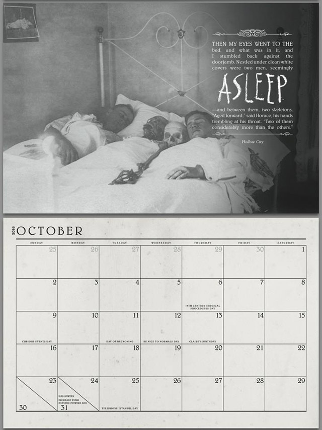 Miss Peregrine's Home for Peculiar Children calendar