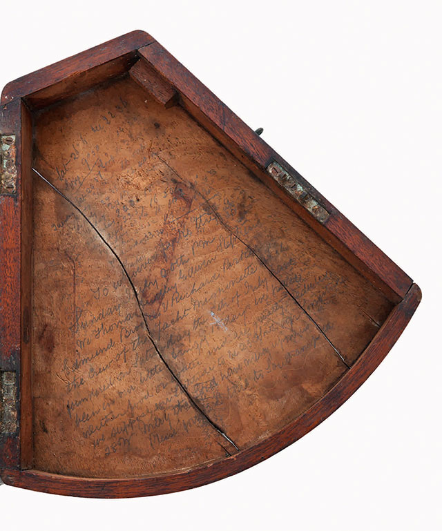 Inscription inside the sextant from the Mignonette sextant