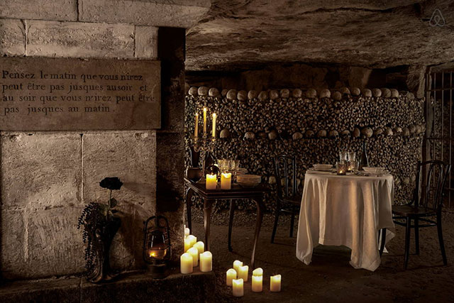 Halloween dinner in the Paris catacombs