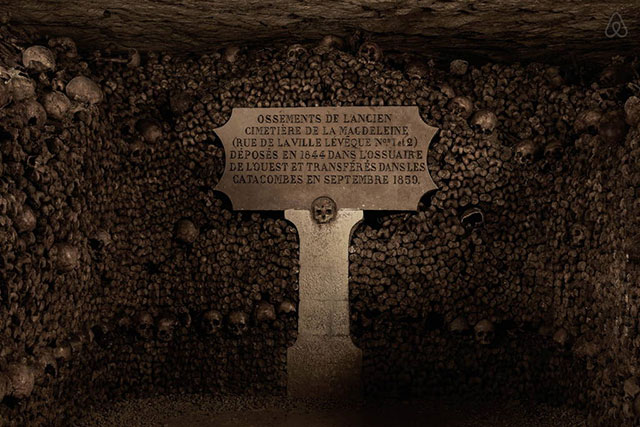 Walls of bones in the catacombs